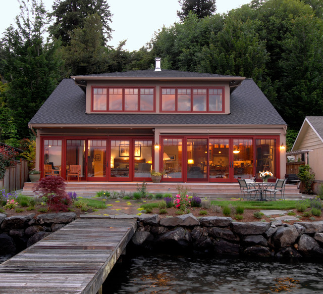 Lake washington waterfront home beach style exterior Lake house windows