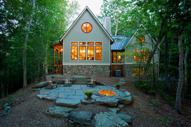 Lakefront Timber Frame Home And Pavillions Rustic