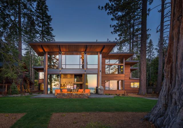 Lakeside modern rustikal haus fassade sacramento for Haus rustikal modern