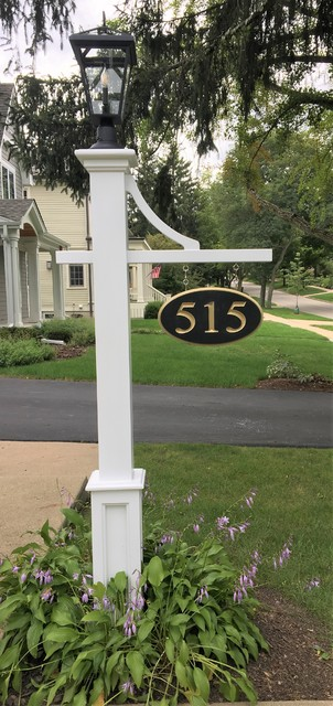 House Exterior Chicago, Lamp Post Address Sign