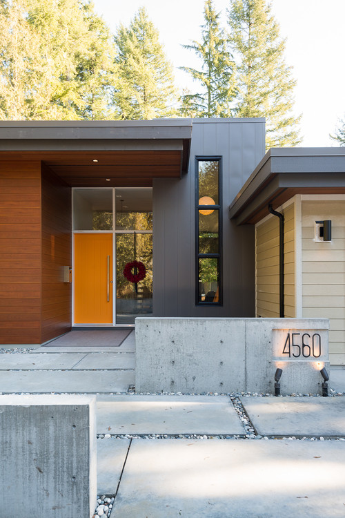 orange front door, mid century modern-Mission Stone Tile