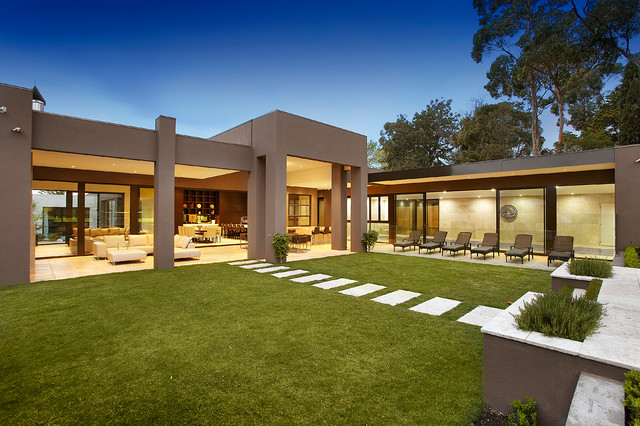 Large Contemporary Family Home Contemporary Exterior Melbourne By Bagnato Architecture