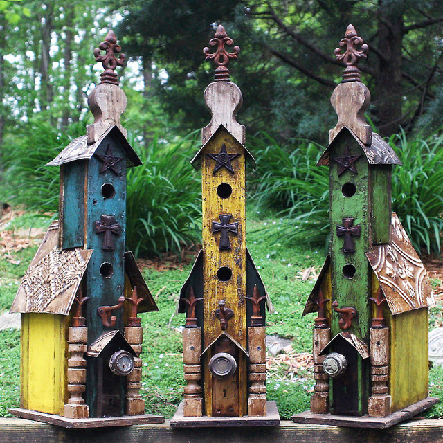 Large Vintage Church Birdhouses