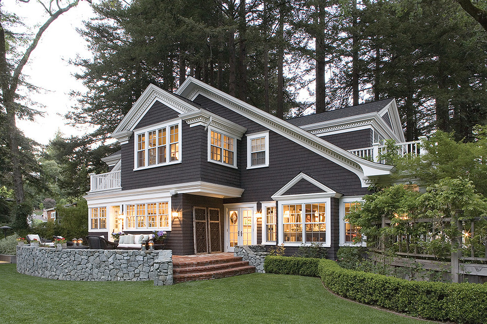Traditional gray two-story exterior home idea in San Francisco