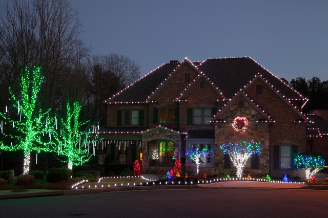Nice LED Outdoor Christmas Lighting Traditional Exterior