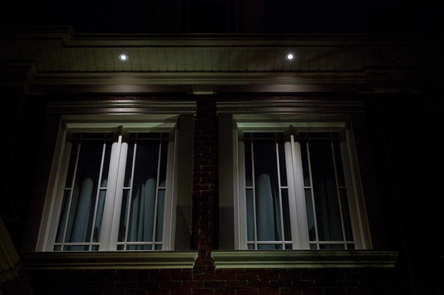 led soffit lighting on a traditional home