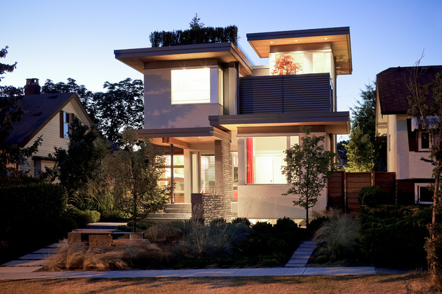 example of a mid sized trendy two story exterior home design in vancouver - Luxury Home Exterior Designs