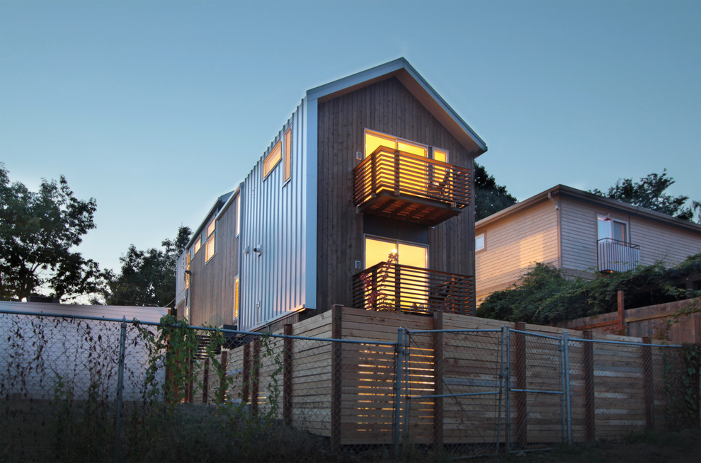 Inspiration for a modern wood exterior home remodel in Seattle