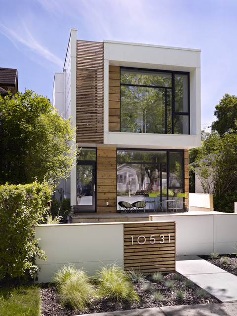 Lovely Inspiration For A Modern Wood Exterior Home Remodel In Edmonton