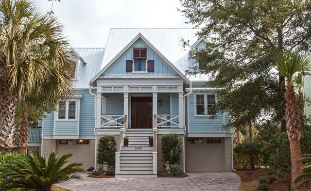 Light Blue Beach Home Exterior Traditional