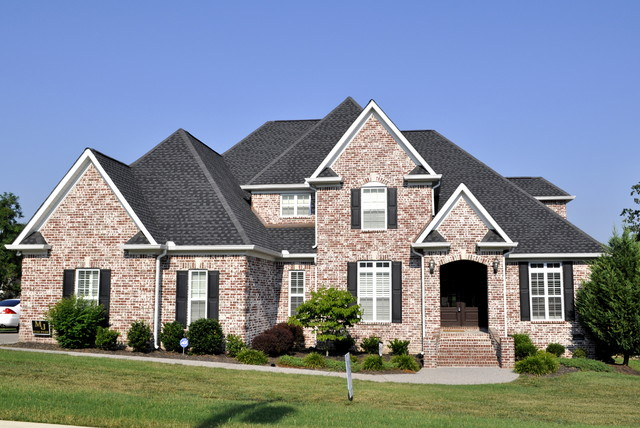Light brick custom two story contemporary exterior for House plans nashville tn