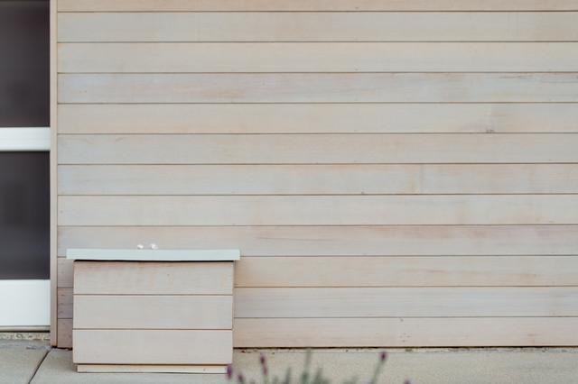 Light Gray Stain At Cedar Siding Midcentury Exterior