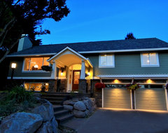 Careful attention to nightime lighting traditional exterior
