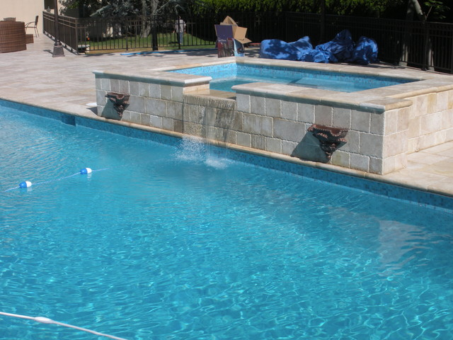 Limestone Pool Surround mediterranean exterior