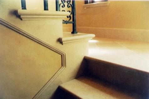 Limestone stair detail mediterranean-staircase