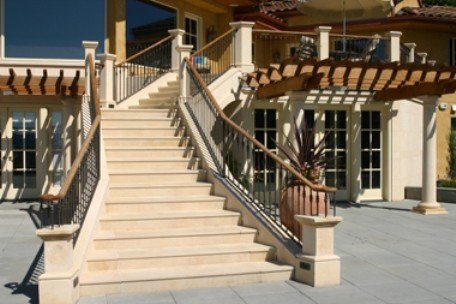 Limestone Stair Treads U0026 Columns Traditional Exterior