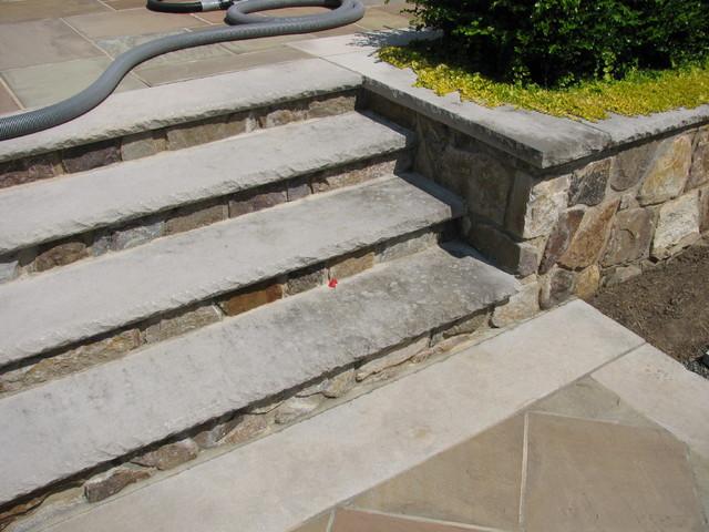 Superb Limestone Steps Traditional Exterior Home Design Ideas