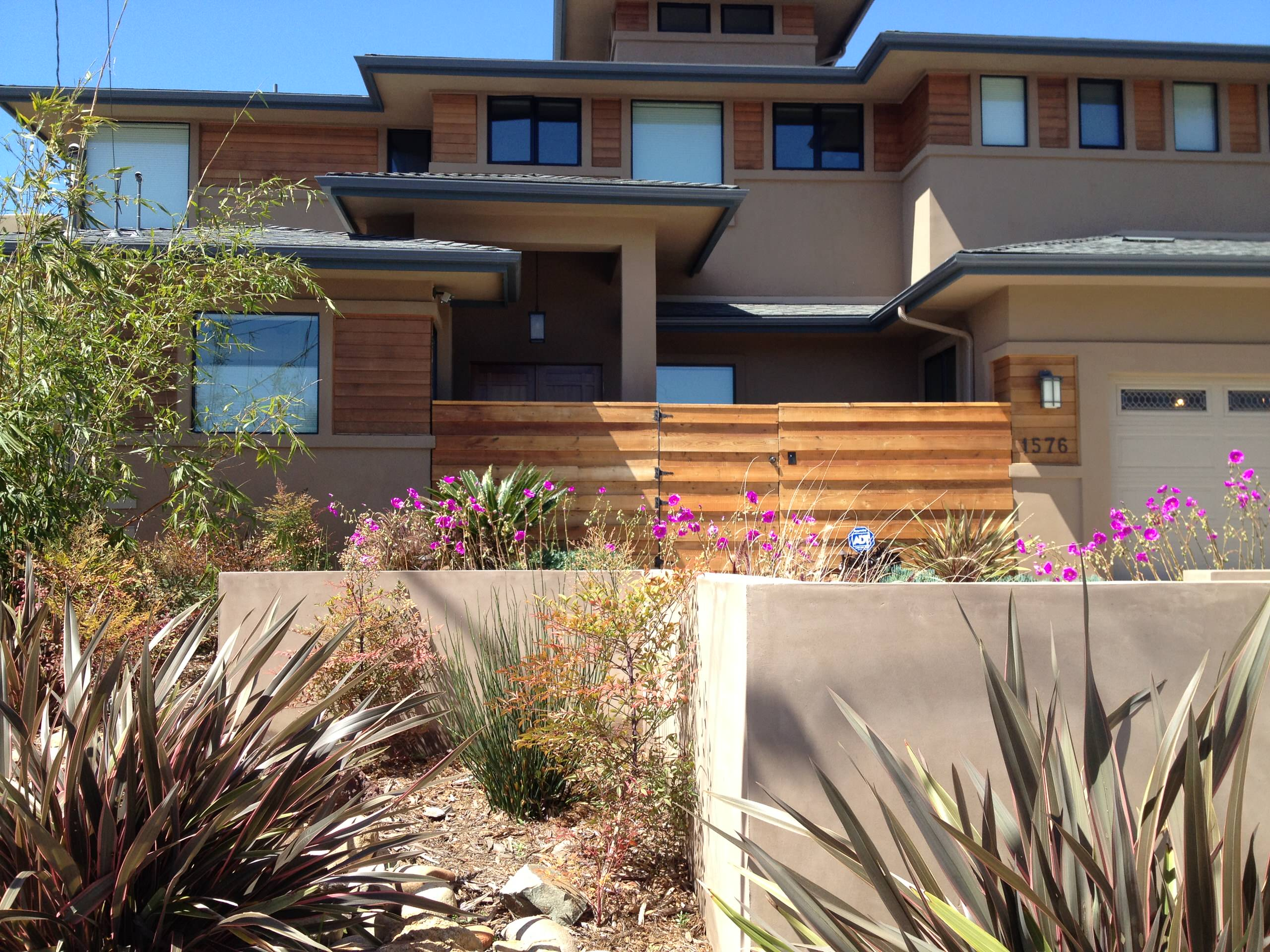 Privacy Stucco Walls and Wood Gate