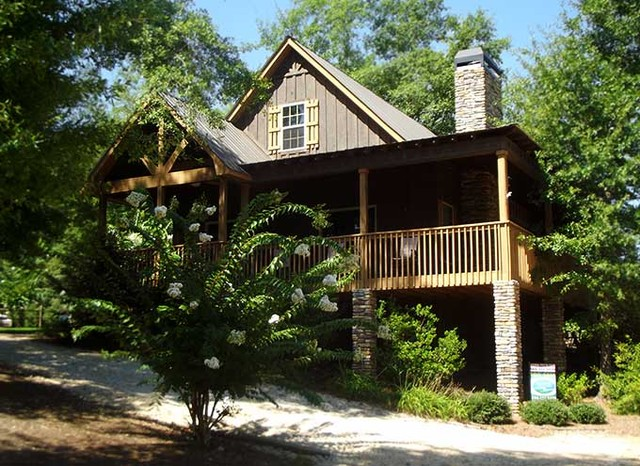Little river cabin traditional exterior atlanta by for Small river house plans