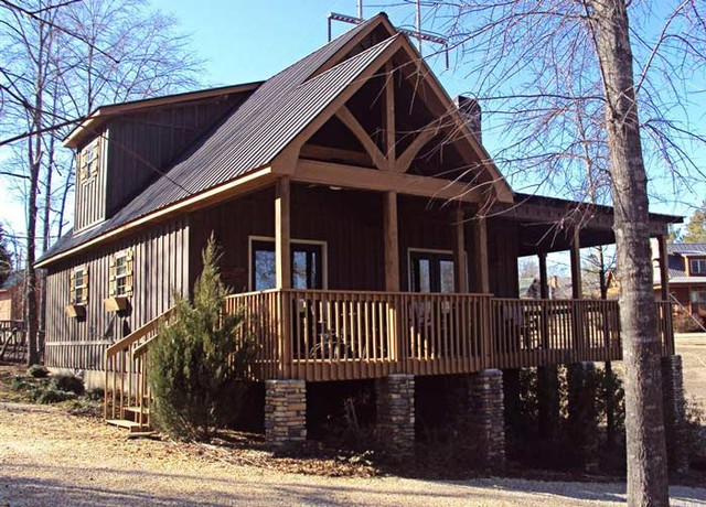 Little river cabin traditional exterior atlanta by Small lake cabin plans