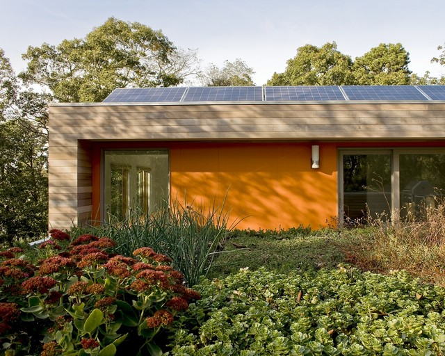 Living Green Roof with Solar Panels modern exterior
