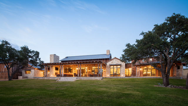 Llano ranch rustic exterior austin by cornerstone for Rustic ranch homes
