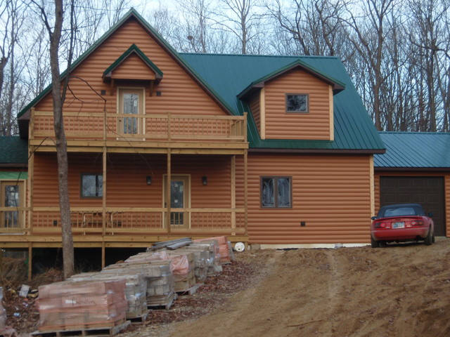 Log Cabin Built With Vinyl Siding Rustic Exterior
