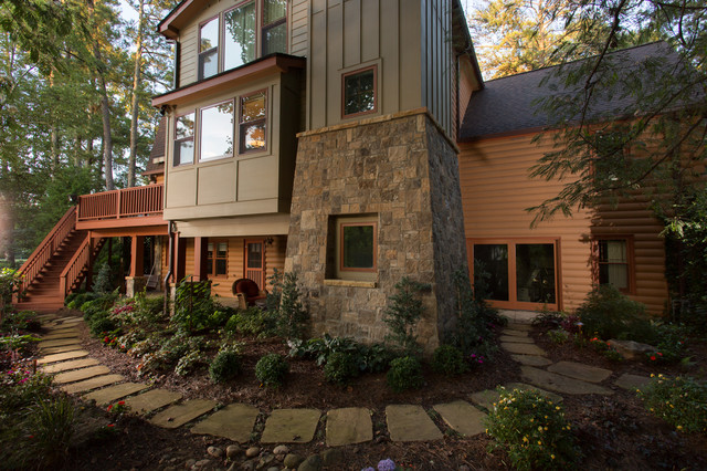 Log cabin home contemporary exterior atlanta by for Log home pictures exterior