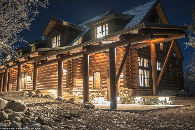 Log cabin remodel addition traditional exterior for Log home addition