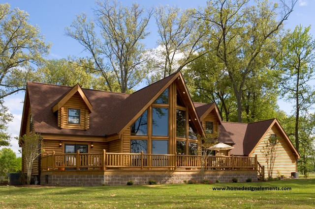 Log cabin exterior design wood cutouts of states for Log siding house plans