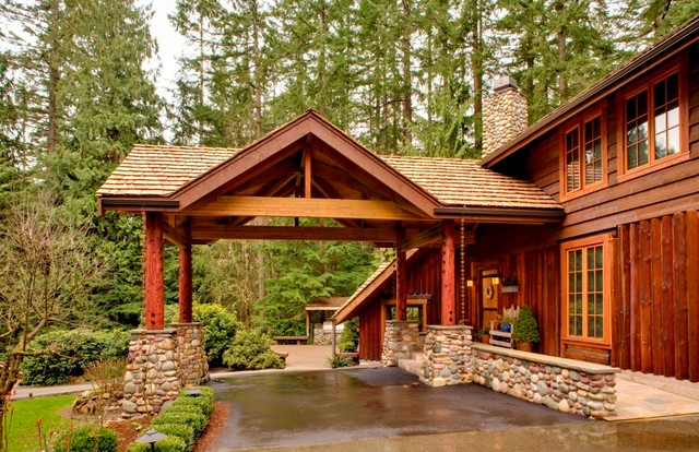 garage shop lighting ideas - Log Home Covered Entry Rustic Exterior seattle by