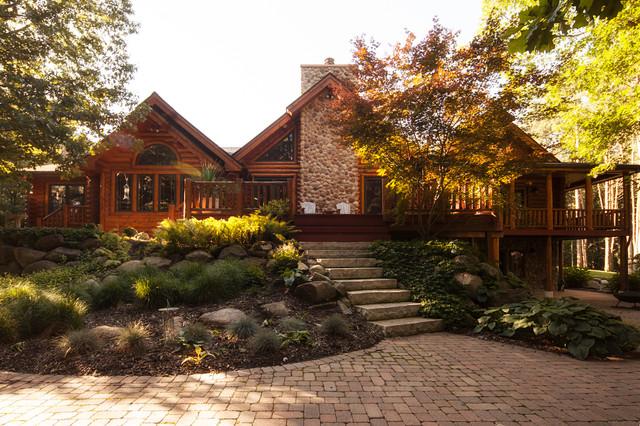 Log home landscaping rustic exterior detroit by for Log home landscape design