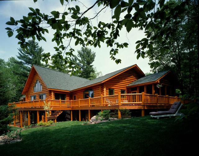 Log homes craftsman exterior other by hiawatha log for Craftsman log homes