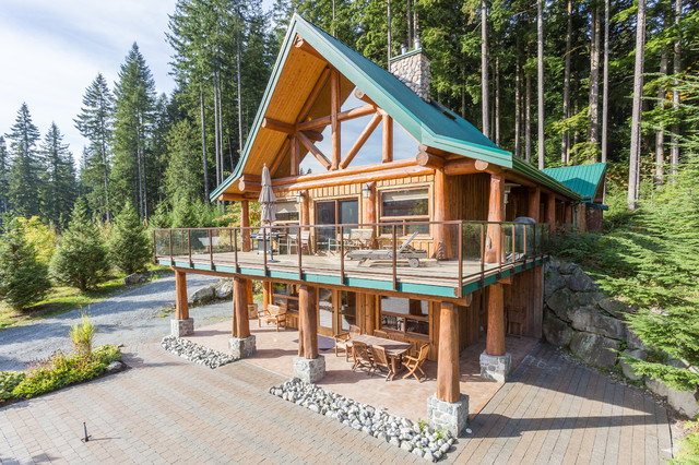 Log post and beam craftsman exterior vancouver by for Craftsman log homes
