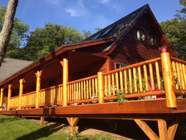 Log railing rustic exterior other by northern log for Log home decks