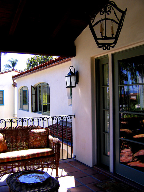 Loggia deck of a small 2 story spanish home in santa for Tiny house santa barbara