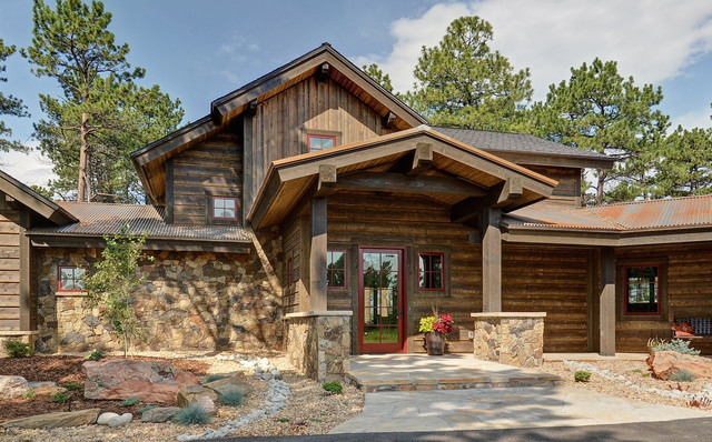 lookout mountain home rustic exterior denver by faye crowe architect llc. Black Bedroom Furniture Sets. Home Design Ideas