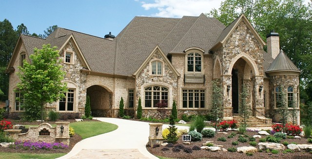 Huge traditional beige two-story brick exterior home idea in Atlanta & Luxury European Style Homes - Traditional - Exterior - Atlanta - by ...