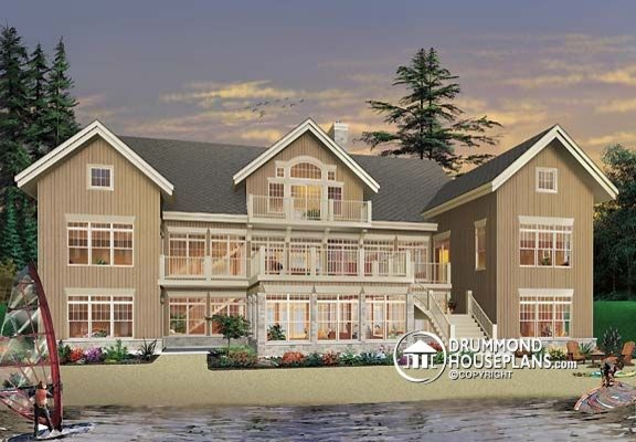 Luxury waterfront cottage design by drummond house plans for Luxury waterfront house plans