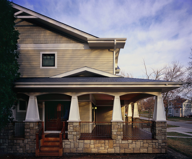 Left Side View Front Porch Craftsman Exterior Chicago By 12 12 Architects Planners