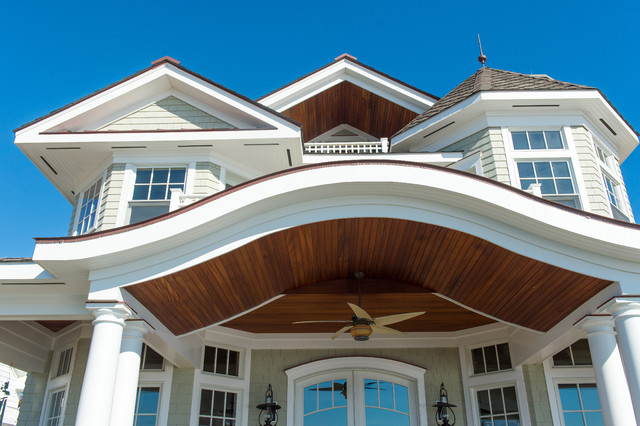 Mahogany porch ceilings beach style exterior new york by cmm construction inc for Exterior beadboard porch ceiling