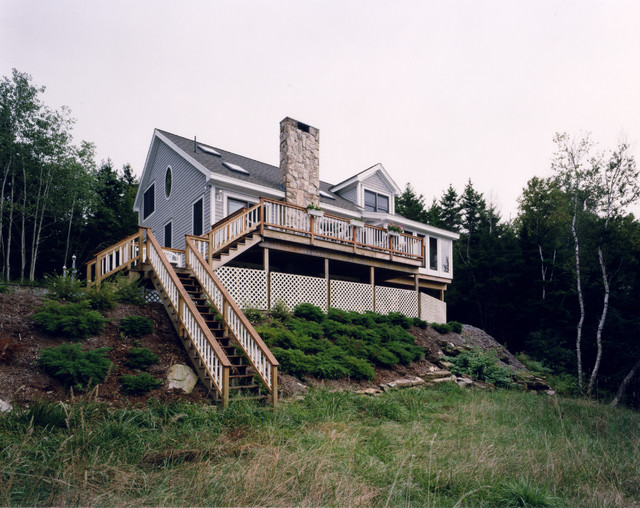 Maine island passive solar traditional exterior for Maine post and beam kits