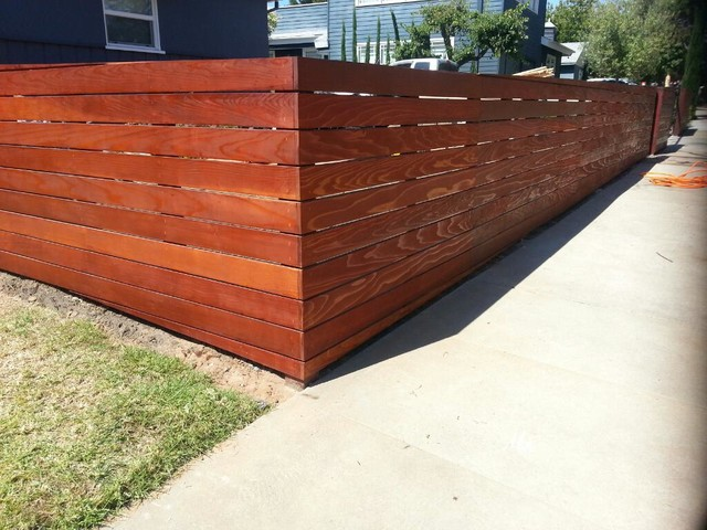 Redwood Fence Mar Vista - Clear Redwood Fence w- Automatic Driveway GateModern Exterior,  Los Angeles
