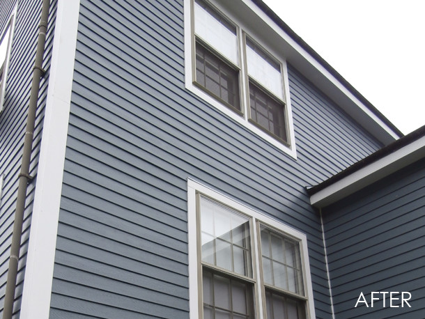 exterior homescapes. marblehead, ma - james hardie hardieplank select cedarmill siding in evening blu traditional-exterior exterior homescapes