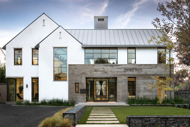 Large minimalist multicolored two-story mixed siding exterior home photo in Dallas with a metal roof