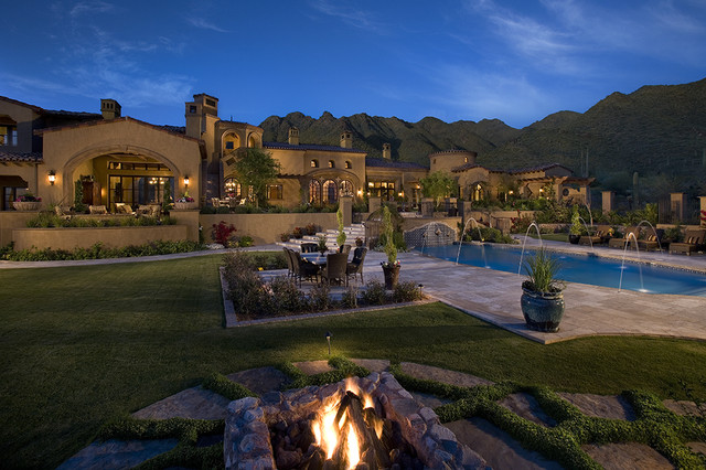 Courtyard / Backyard of a spectacular luxury estate mediterranean-exterior