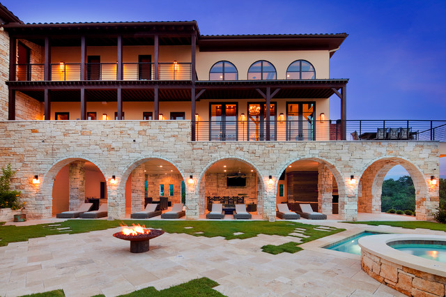Outdoor Living Large Stone Arches Fire Pit Mediterranean
