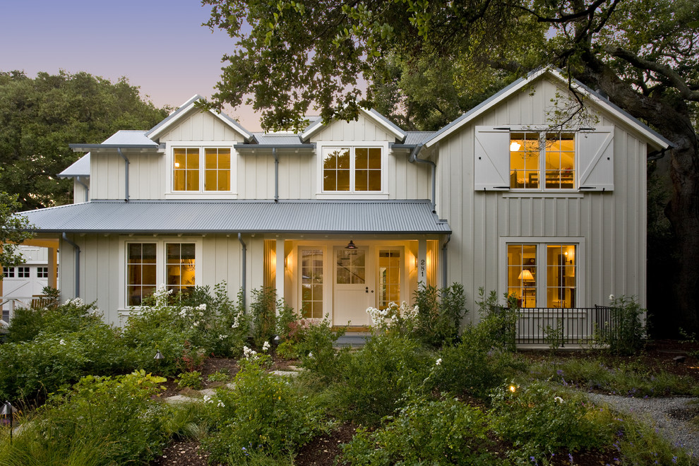 Mid-sized farmhouse two-story wood exterior home photo in San Francisco