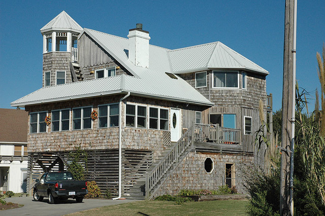 Metal Roof on Coastal Home traditional-exterior