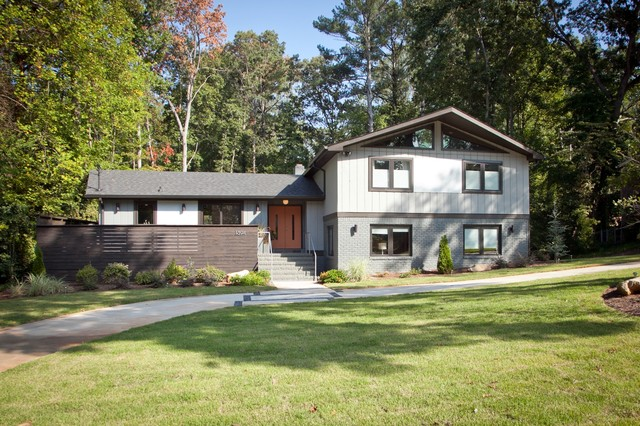 Mid century modern atlanta midcentury exterior atlanta for Split level ranch remodel